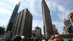 Tourist side seeing Flatiron skyscraper Stock Footage