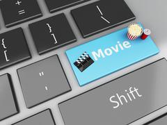 3d Clapper board with popcorn on computer keyboard. Stock Illustration