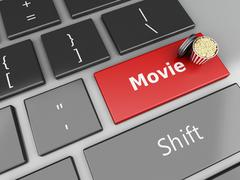 3d Popcorn and film reel on computer keyboard. Stock Illustration