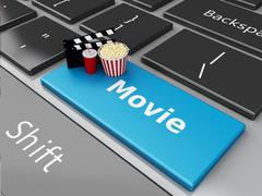 3d Popcorn and cinema clapper board on computer keyboard. Stock Illustration