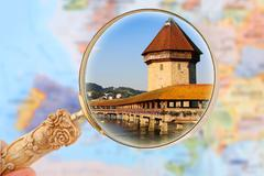 Stock Photo of Looking in on Chapel Bridge, Lucerne