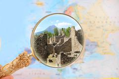 Pompeii and Mount Vesuvius - stock photo