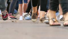 Tourists Feet Crowd in Las Ramblas Street Stock Footage