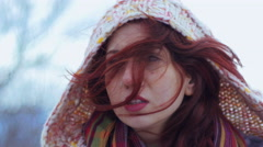 Redhead girl in sorrow for the death of a parent - stock footage