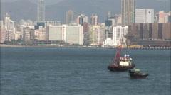Junk boat in Hong Kong harbor, China Stock Footage