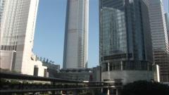 Hong Kong skyscrapers, skywalk, China Stock Footage