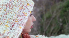 Mourn and melancholy, girl in pain, wind, close up - stock footage