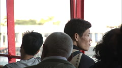 Passengers on Hong Kong ferry, China Stock Footage