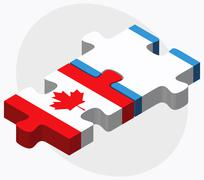 Canada and Guatemala Flags Stock Illustration