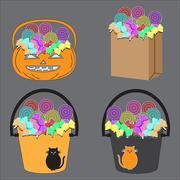 Tricks or Treats Halloween Jack O Lantern. Vector Illustration of Festive Bas Stock Illustration