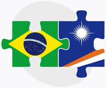 Brazil and Marshall Islands Flags Stock Illustration