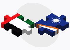 United Arab Emirates and Marshall Islands Flags - stock illustration