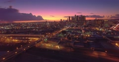 Aerial view of downtown of city of Los Angeles, scenic sunset. 4K UHD. Arkistovideo