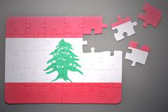 puzzle with the national flag of lebanon - stock photo