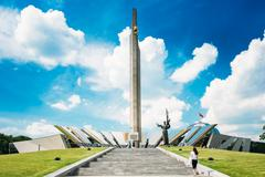 Monument Near Building Belorussian Museum Of The Great Patriotic Stock Photos