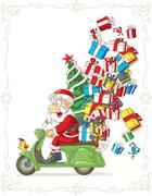 Stock Illustration of Santa Claus on Scooter Silly Vector Cartoon