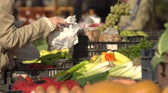 Buying grapes at the market 4K - stock footage