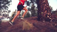 Fitness Running Young Man jogging In Forest – Runner Athlete Stock Footage