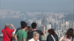 Hong Kong harbour, Victoria Peak, tourists Stock Footage