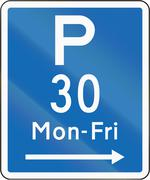 New Zealand road sign - Parking permitted during non-standard hours for a max - stock illustration