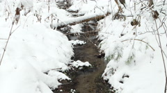 Creek in the snow. Russia. 4K Stock Footage
