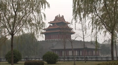 Forbidden City pagoda, willow trees, Beijing Stock Footage