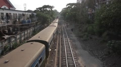 Old AsianTrain Passing By Wide Shot (Yangon/Burma) Stock Footage