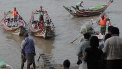 Asian Port Harbour - Two Boats Arriving (Yangon/Burma) Stock Footage