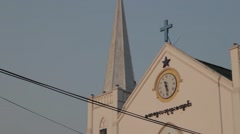 Stock Video Footage of Immanuel Baptist Church - Cross Steeple Low Angle (Yangon/Burma)