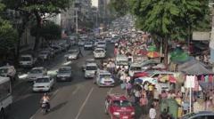Very Busy Asian Street with Traffic, People, Market (Yangon/Burma) Stock Footage