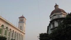 Low Angle of Decrepit Colonial Buildings in Yangon, Burma Stock Footage