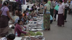 Asia Street Market with women selling fish (Yangon/Burma) Stock Footage