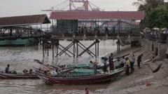 Asian Port, People Boarding Boat, Pier In Background (Yangon/Burma) Stock Footage