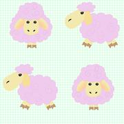 Cartoon sheep green background - stock illustration