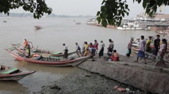 People Boarding Boat in Asia by port harbour (Yangon/Burma) Stock Footage