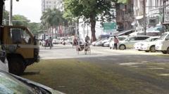 Traffic on Asian Street Rickshaws (Yangon/Burma) Stock Footage