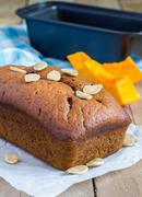 Loaf of fresh baked homemade pumpkin bread Stock Photos