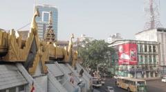 Sule Pagoda With Traffic - Yangon Burma Stock Footage