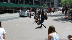 Street artists dancing breakdance in the center of New York Stock Footage