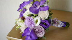 wedding bouquet bride ceremony the bride and groom emotions - stock footage