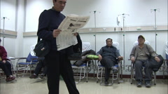Patients on IV drip, hospital, China Stock Footage