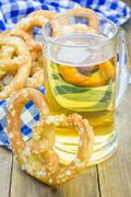 Freshly baked homemade soft pretzels sprinkled with coarse salt Stock Photos