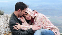 Couple during an excursion, embrace, care, passion - stock footage