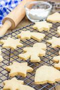 Fresh baked homemade shortbread cookies on a cooling rack Stock Photos