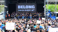 All Blacks victory parade in Auckland New Zealand - stock footage