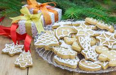 Homemade christmas shortbread cookies on a glass plate Stock Photos