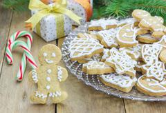 Homemade christmas shortbread cookies on a glass plate - stock photo