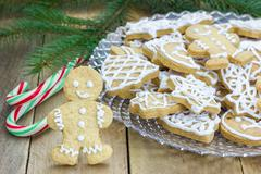 Stock Photo of Homemade christmas shortbread cookies on a glass plate