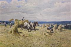 Oil painting  from the beginning of 20. century - stock illustration