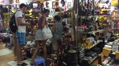 Tourists shopping in marketplace Nha Trang city in Vietnam Stock Footage